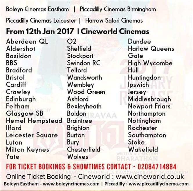 Bairavaa UK Theater list