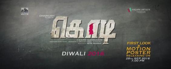 Dhanush Starrer Kodi - First Look Release Date - Tamil Movie Poster