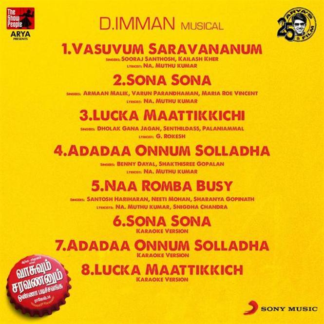 Vasuvum Saravananum Onna Padichavanga Tracklist