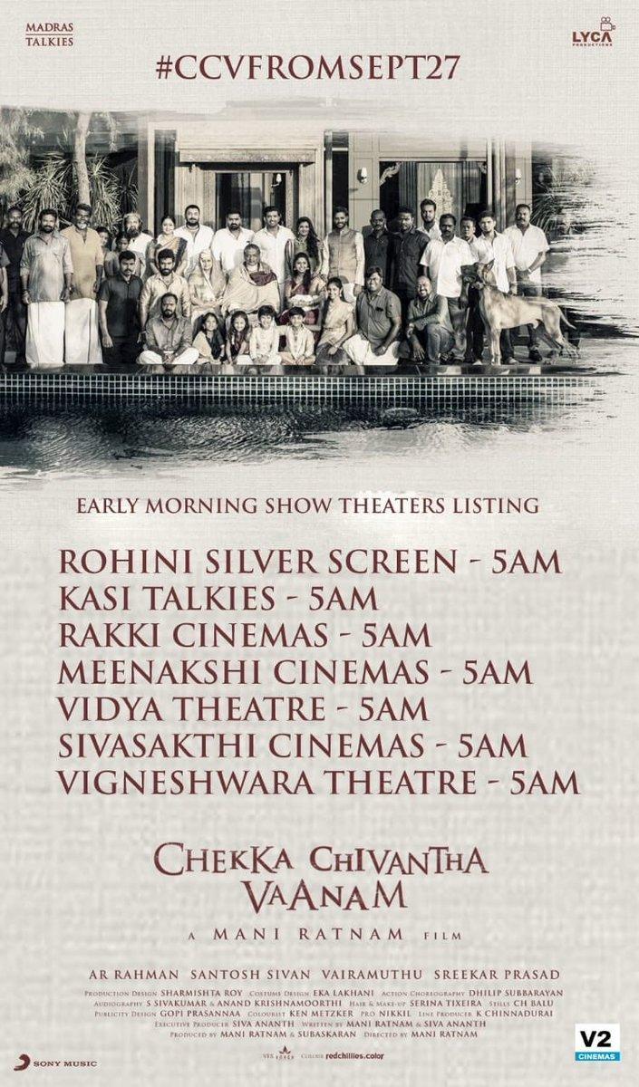 5 AM shows for Mani Ratnam's Chekka Chivantha Vaanam! Tamil Movie