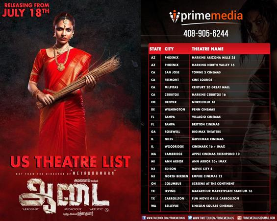 Aadai USA Theaters list