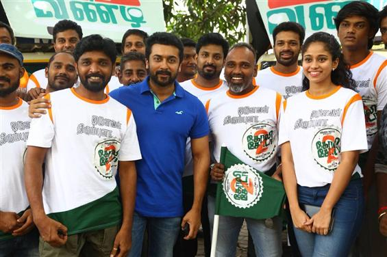 Actor Suriya flags off the GST Vandi for Vijay Milton's Goli Soda 2
