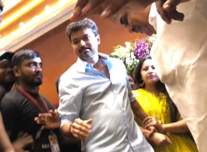 Actor Vijay Gets Mobbed At A Wedding, Walks Out With An