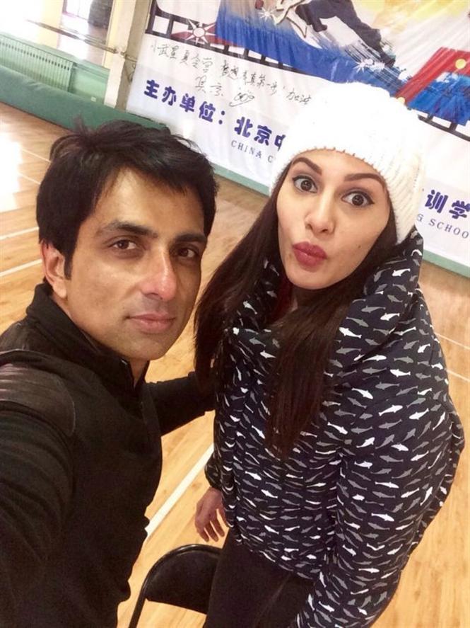 Amyra Dastur And Sonu Sood On The Sets 'Kung Fu Yoga