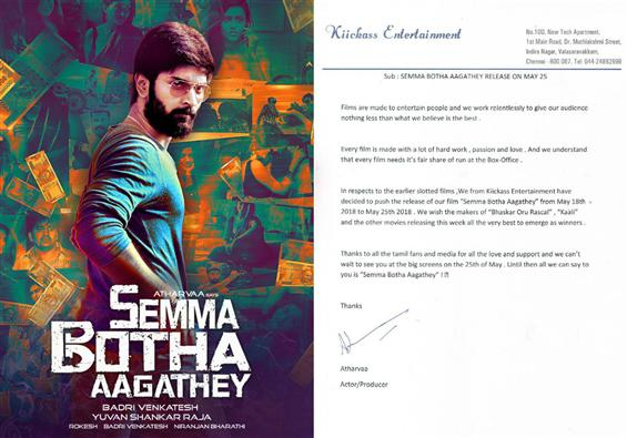 Atharvaa Murali's Semma Botha Aagathey release date pushed by a week!