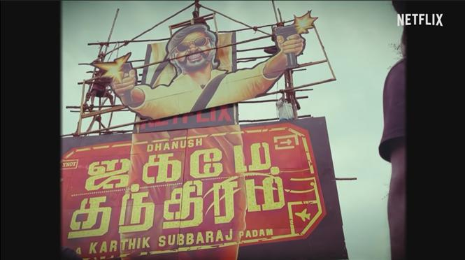 Cut-out for an OTT film! Dhanush fans go all out for Jagame Thandhiram!