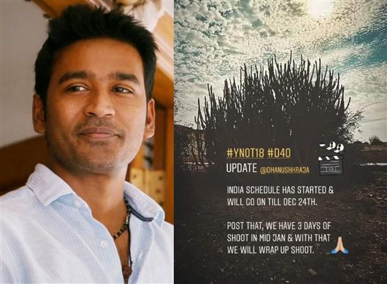 D 40: Dhanush's movie begins shooting in India!