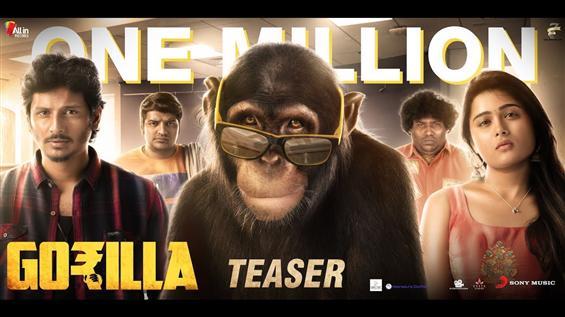 Gorilla Teaser feat. Jiiva, Shalini Pandey crosses 1 million Views