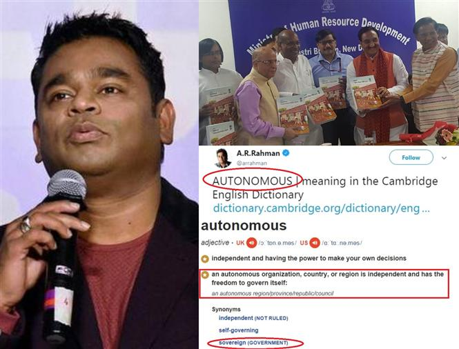 Is A.R.Rahman's 'Autonomous' tweet aimed at Center's revised NEP & Hindi Imposition?