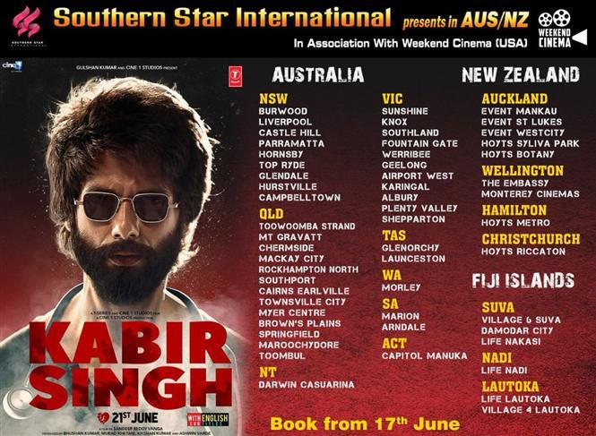 Kabir Singh Australia, New Zealand, Fiji Theatre List