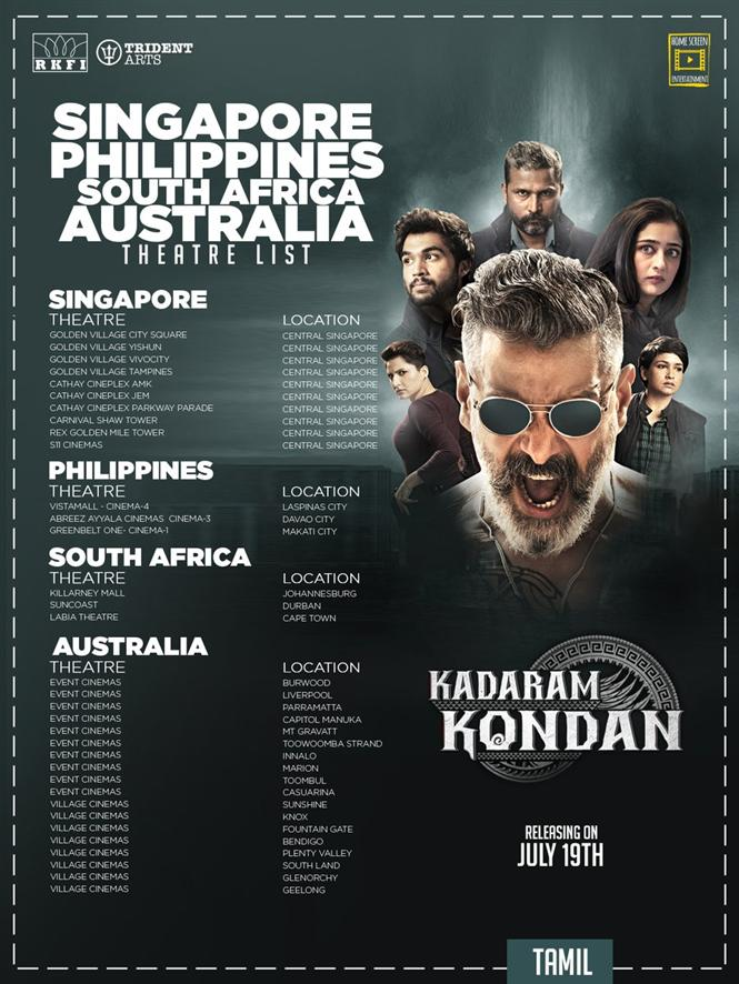 Kadaram Kondan Singapore, Philippines, South Africa and Australia Theatre List