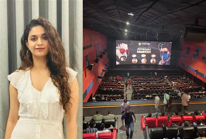 Keerthy Suresh catches Master in a Chennai theater! Where is social distancing, ask netizens!