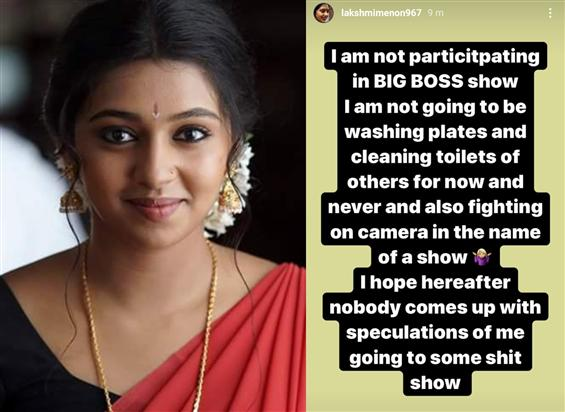 Lakshmi Menon sticks to her harsh stance about Big...