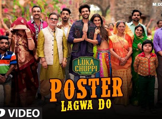 Luka Chuppi: Poster Lagwa Do Video Song feat. Kartik Aaryan & Kriti Sanon.