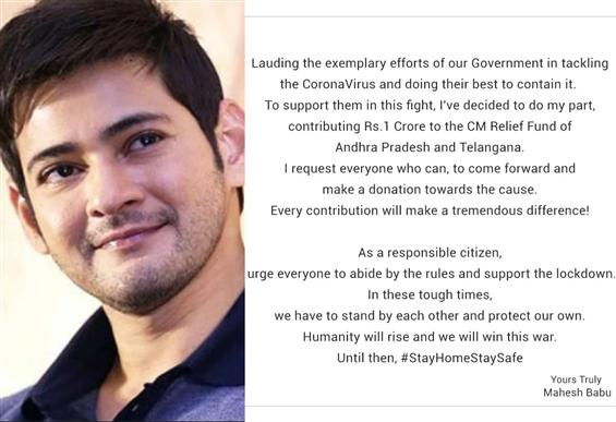Mahesh Babu donates Rs. 1 Cr. for Corona Relief!
