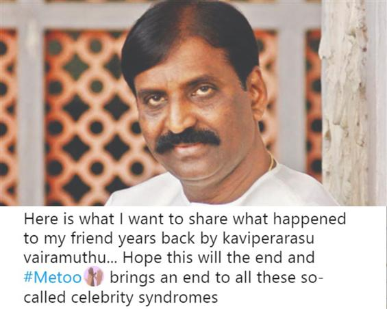 Me Too India: Vairamuthu narrated a lewd poem, all...