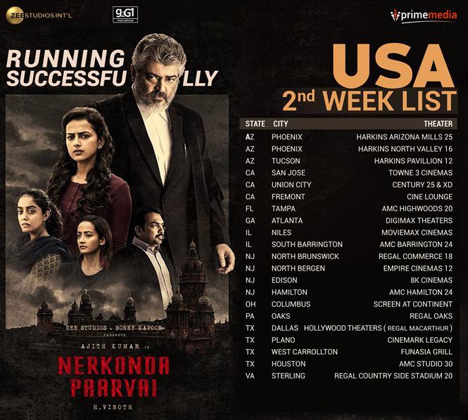 Nerkonda Paarvai USA 2nd Week Theater List