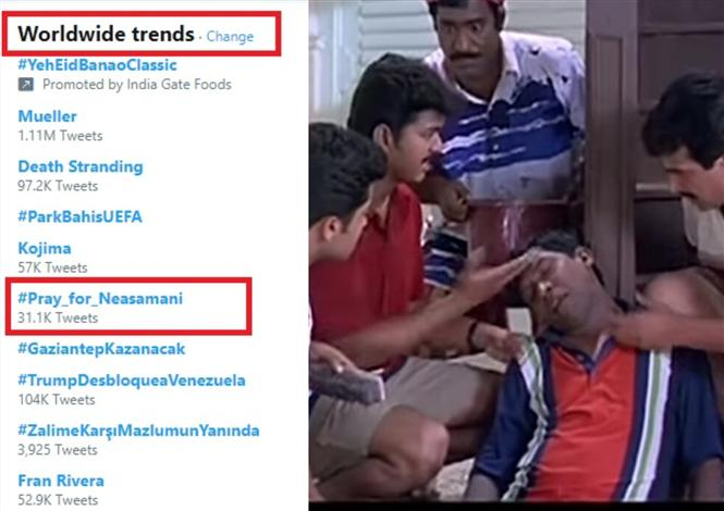 Pray for Neasamani Trends Worldwide! New High for Vadivelu's iconic character!