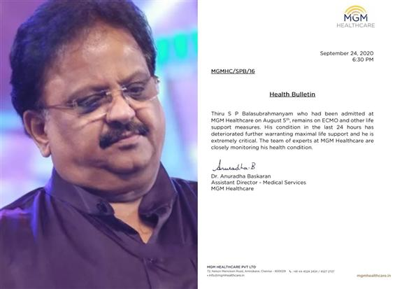 S P Balasubramaniam Extremely Critical Updates Hospital!