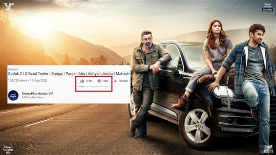 Sadak 2 Trailer: Hindi movie audience on a dislike...