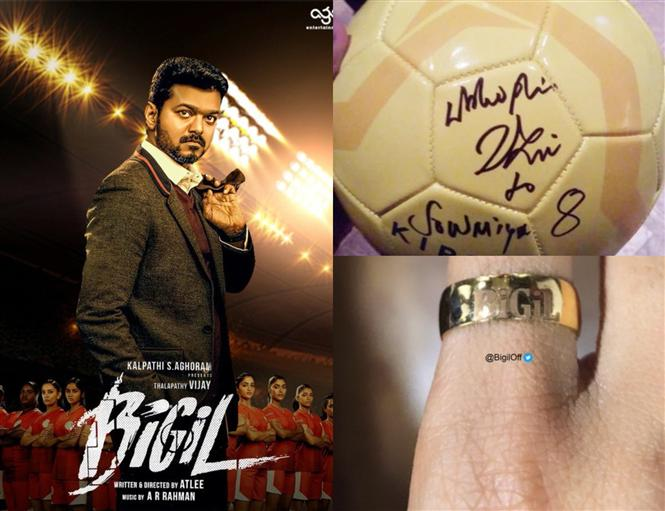 Signed Footballs & Engraved Gold Rings: Team Bigil elated over Vijay's generosity!