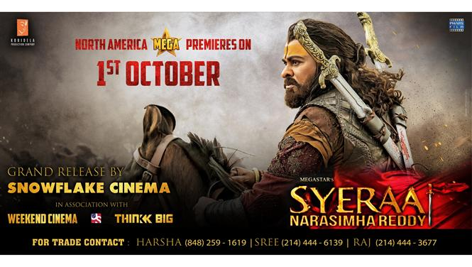 Snowflake Cinema to release Sye Raa Narasimha Reddy in USA & Canada!