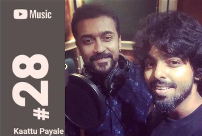 Suriya thanks G.V. Prakash for Kaattu Payale's top music ranking!