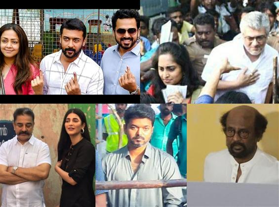 Tamil cine actors turn up for voting in Phase 2 of...