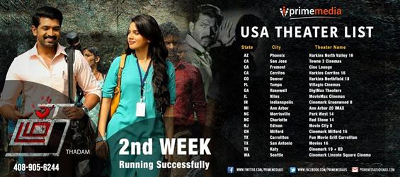 Thadam USA Theatre list
