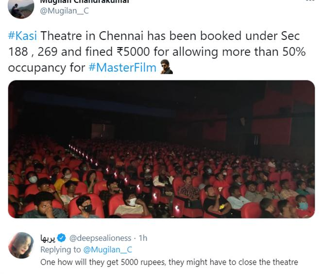 Twitter strikes with Sarcasm after Master screening violation fined with just Rs. 5000!