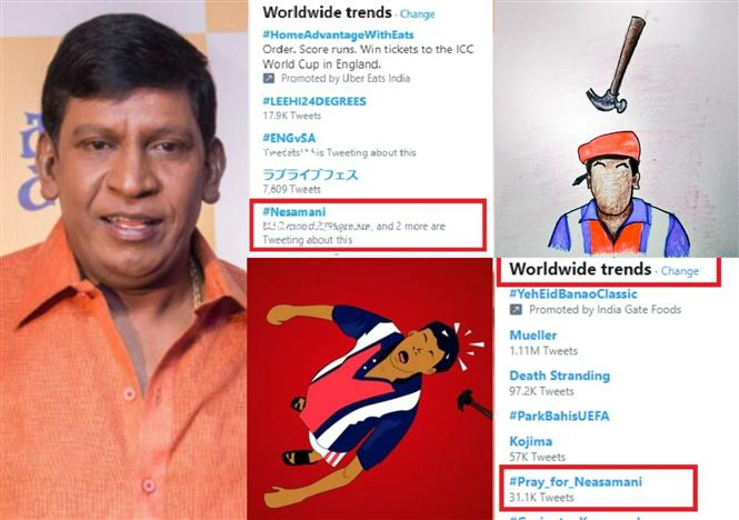 Vadivelu reacts to Contractor Nesamani setting social media on Fire with #Pray_For_Neasamani memes!