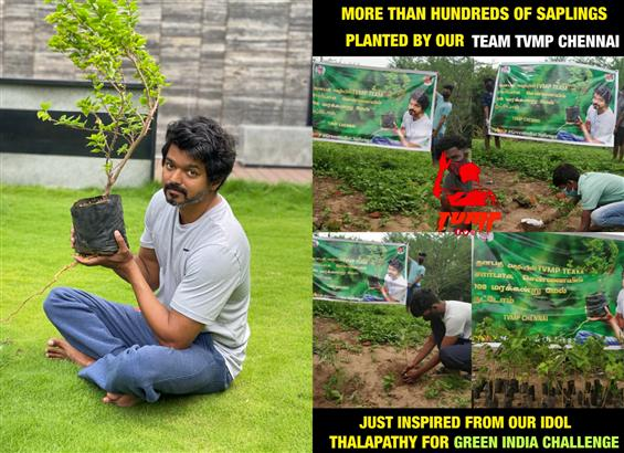 Vijay fans take the Green India Challenge by plant...